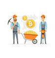 bitcoin miners - cartoon people character isolated vector image