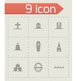 black funeral icons set vector image vector image