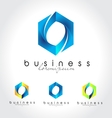 Blue business logo vector image