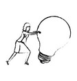 businesswoman pushing a big light bulb silhouette vector image vector image