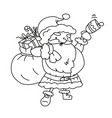 cartoon contour santa claus with bag gifts bell vector image