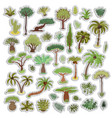 collection of tropical trees stickers palms and vector image vector image