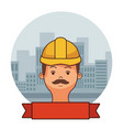 construction builder face cartoon vector image vector image