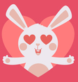 Cute Bunny Crazy in Love Inside Heart vector image vector image