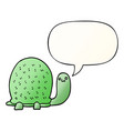 cute cartoon turtle and speech bubble in smooth vector image vector image