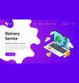 delivery service landing laptop vector image vector image