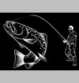 fisherman catches fish in black background vector image vector image