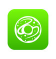 glazed donut icon digital green vector image