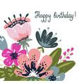 greeting card happy birthday hand drawng brush vector image vector image