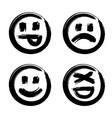 hand drawn set of emoji vector image vector image