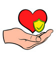 hand holding red heart icon cartoon vector image vector image