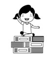 happy girl sitting on books vector image vector image