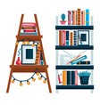 home library bookshelves isolated icons study vector image
