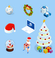 isometric set graphic elements for christmas vector image