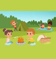 kids summer camp background with children vector image vector image