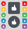 Like Thumb up icon sign A set of 12 colored vector image vector image