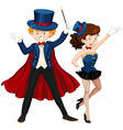 Magician and his assistant in blue outfit vector image