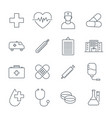 medical icons set line icons medicine vector image vector image