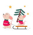 mom mouse sledding her bawith spruce tree xmas vector image