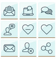 network icons set with like button inbox vector image vector image