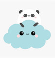 panda bear face holding blue cloud in sky vector image