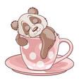 panda sleeping in teacup vector image