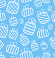 seamless blue gift pattern vector image