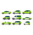 set eco car or electric auto green transport vector image
