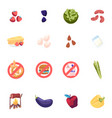 set icons strawberry blackberry and cabbage vector image
