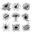 set of comic style bombs dynamite grenade design vector image vector image
