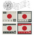 Set of old postage stamps with japan flag