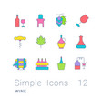 set simple line icons wine vector image vector image