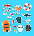 set with cartoon fishing vector image