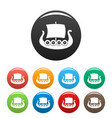 ship viking icons set color vector image vector image