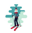skiing old man with ski active senior adult vector image