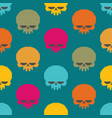 skull pixel art seamless pattern head of skeleton vector image vector image