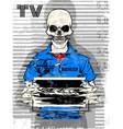 skull prison tee poster graphic design vector image vector image