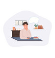 smiling dreaming boy working at home isolated vector image