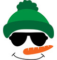 snowman face icon funny in green hat big vector image vector image