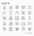 start up thin line icons set vector image