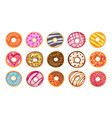 sweet tasty donut set isolated on white background vector image