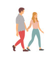 teenagers holding hands isolated cartoon people vector image vector image