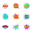 trendy speech bubbles icons set cartoon style vector image