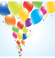 vector illustration of colorful balloons in the sk vector image