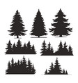 vintage trees and forest silhouettes set vector image