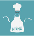 white blank kitchen cotton apron chef hat and big vector image vector image