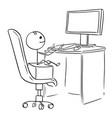 small boy sitting on chair and working on computer vector image