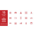 15 architecture icons vector image vector image
