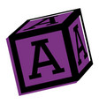 alphabet block toy education icon vector image