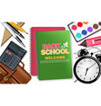 back to school notes book and alarm clock vector image